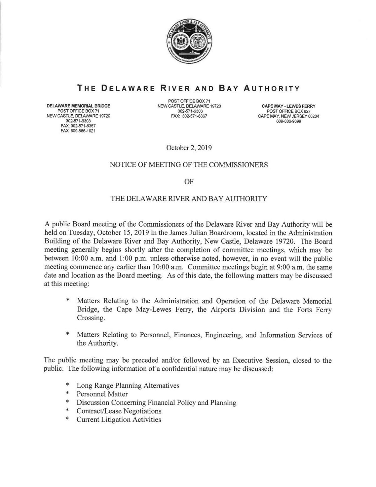 Delaware River and Bay Authority Commissioners Agenda Oct. 15, 2019