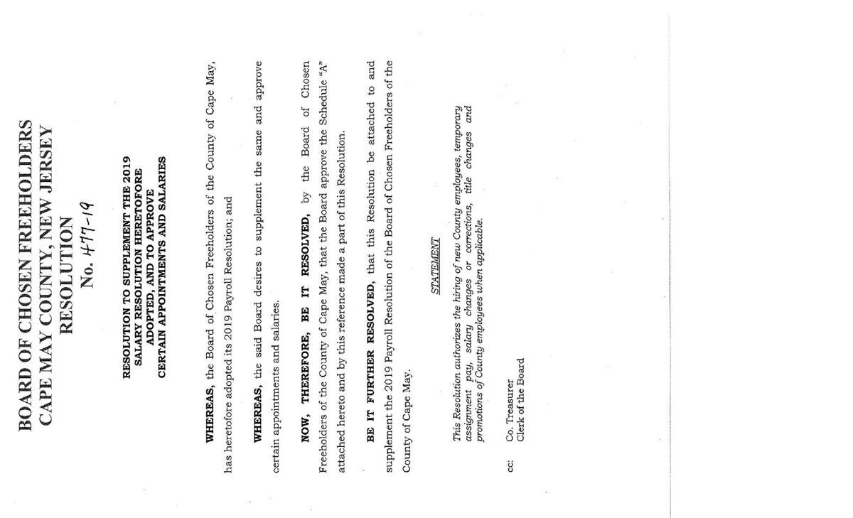 Freeholders Salary Resolution of June 25, 2019