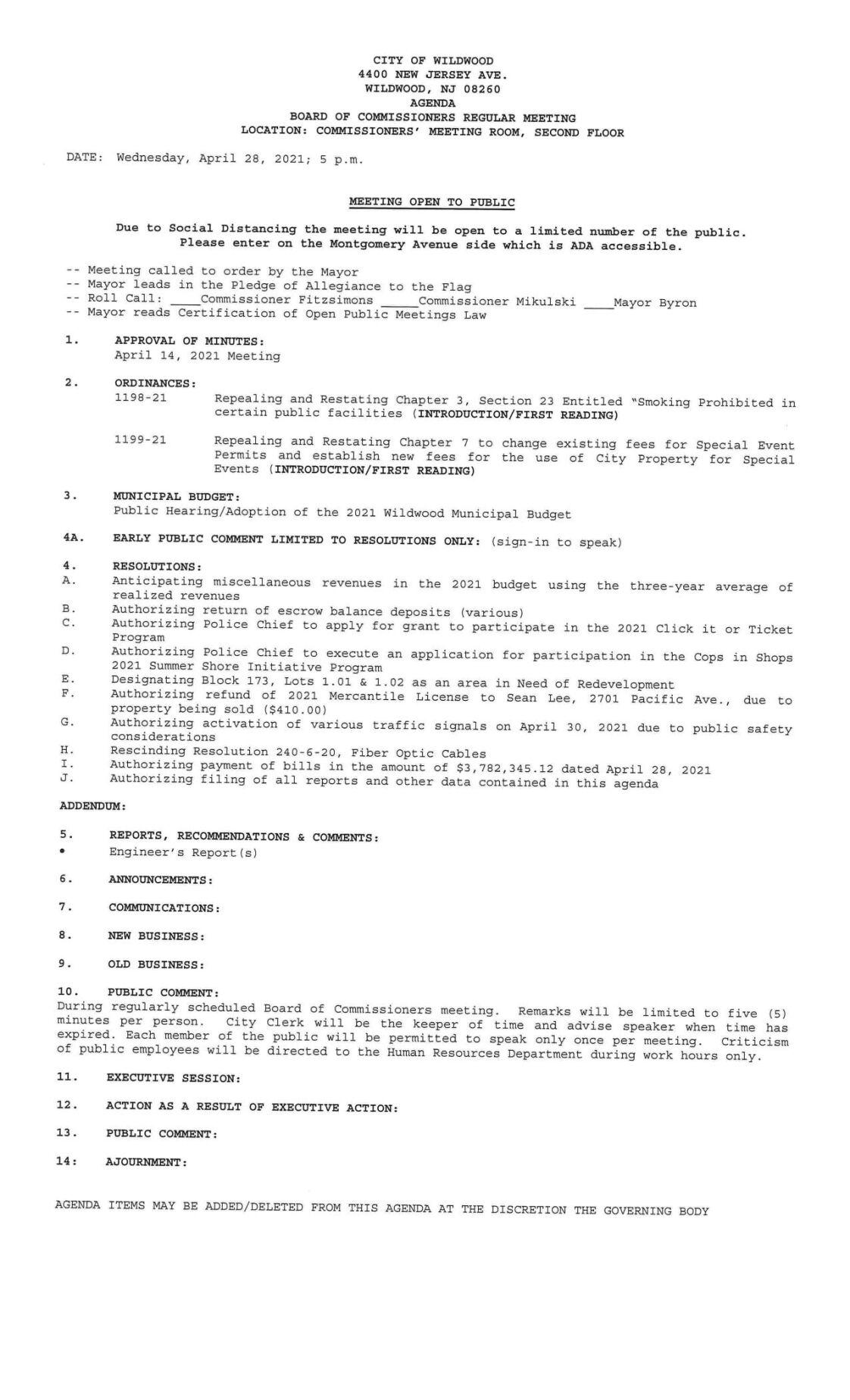 Wildwood City Commissioners Meeting Agenda April 28, 2021