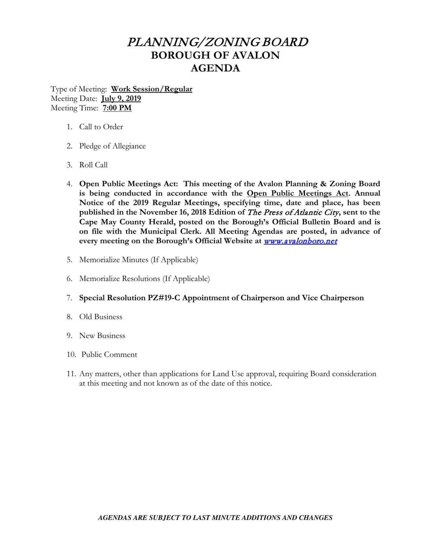 Avalon Planning-Zoning Board Agenda July 9, 2019