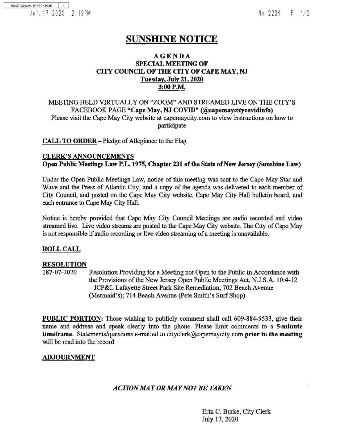 Cape May City Council Meeting Agenda July 21, 2020
