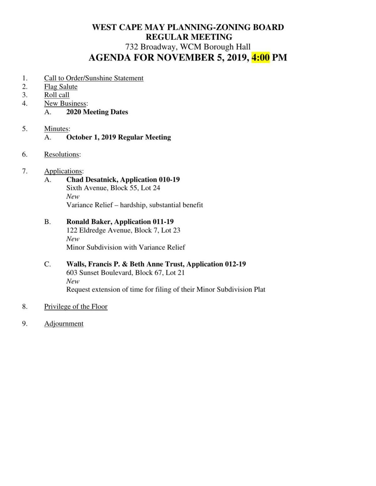 West Cape May Planning-Zoning Board Agenda Nov. 5, 2019