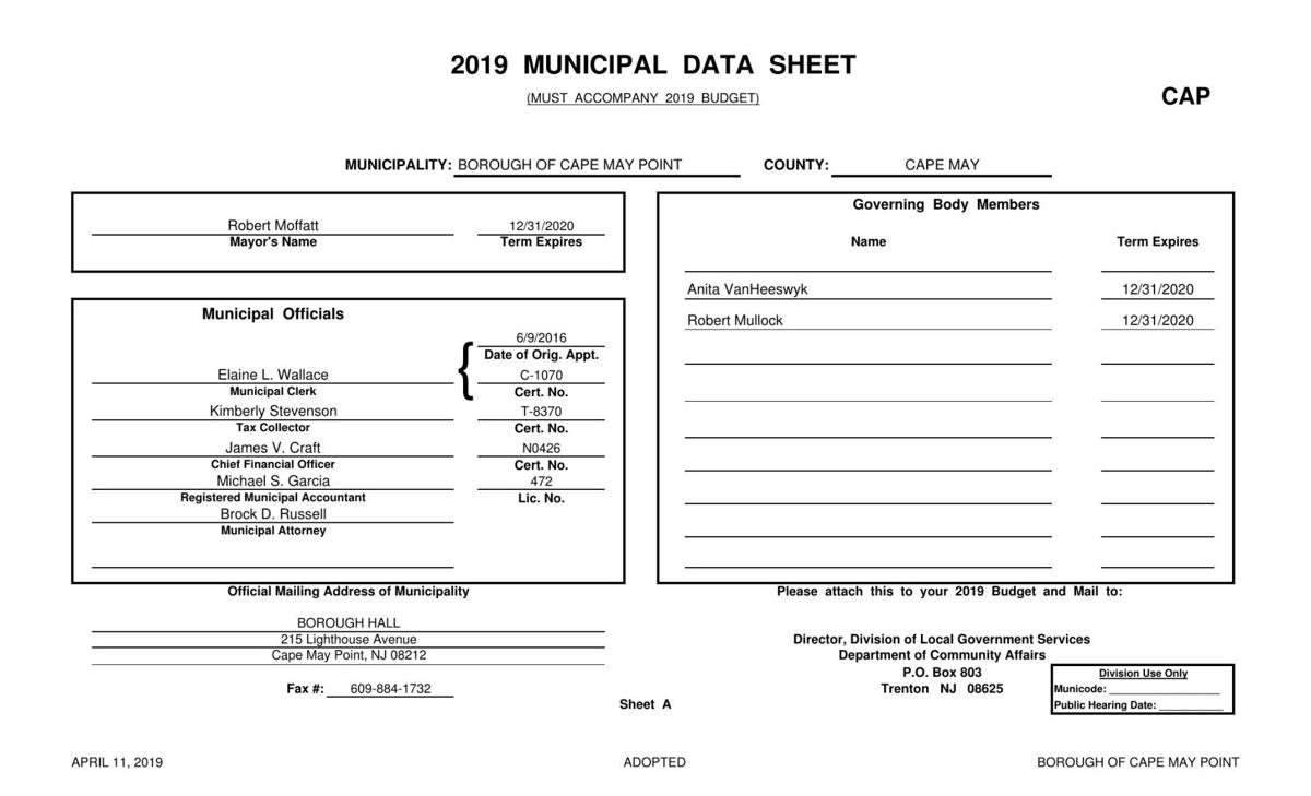 Cape May Point Adopted Budget 2019