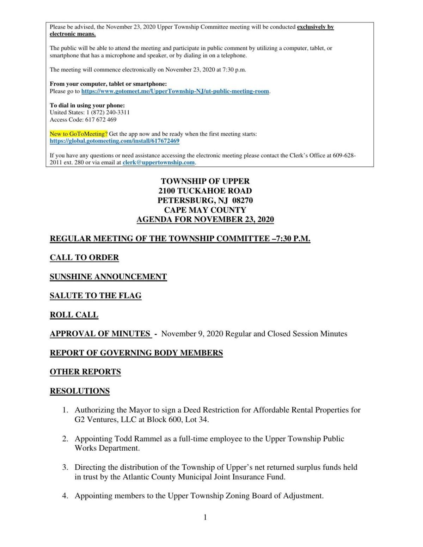Upper Township Commitee Meeting Agenda Nov. 23, 2020