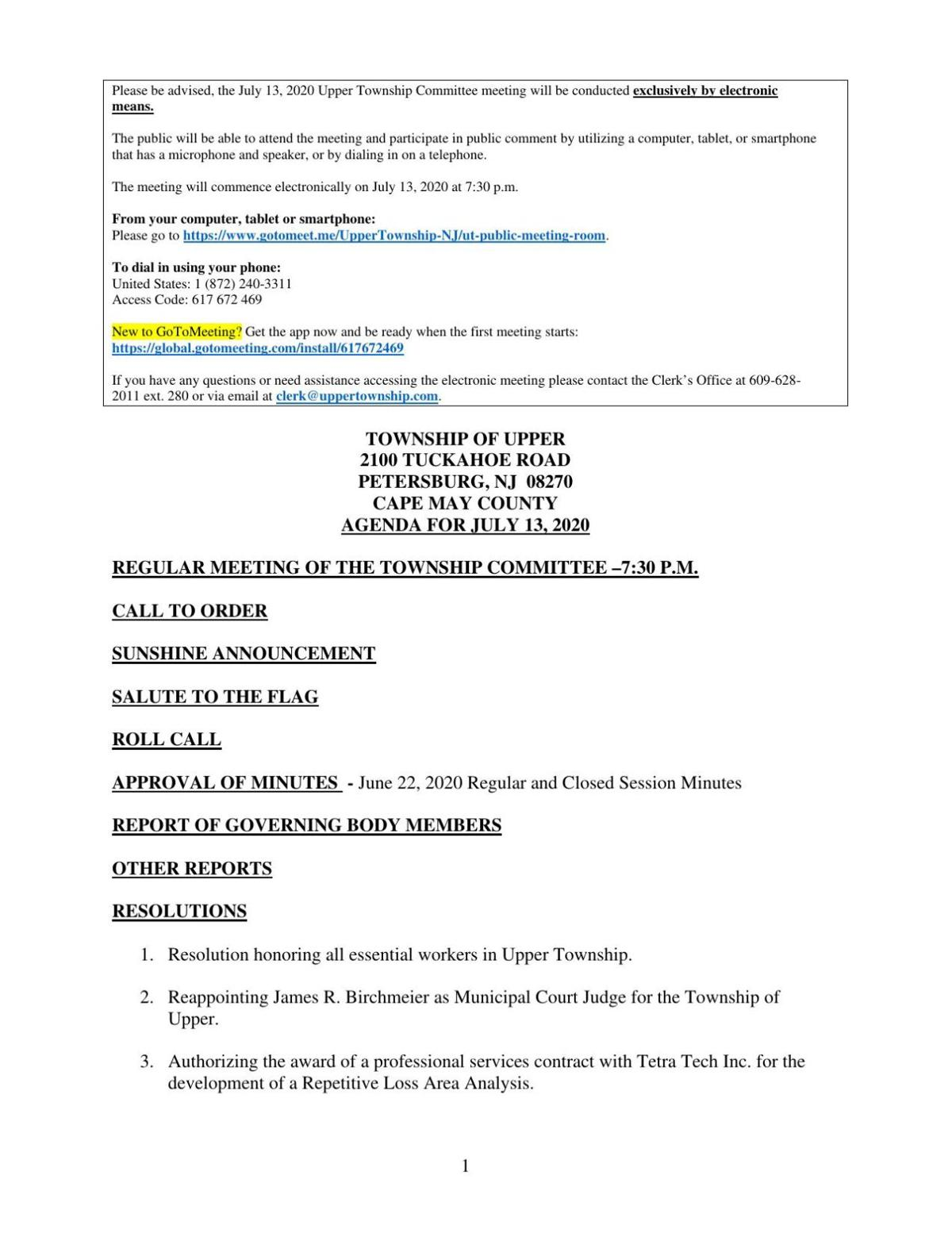 Upper Township Committee Meeting Agenda July 13, 2020