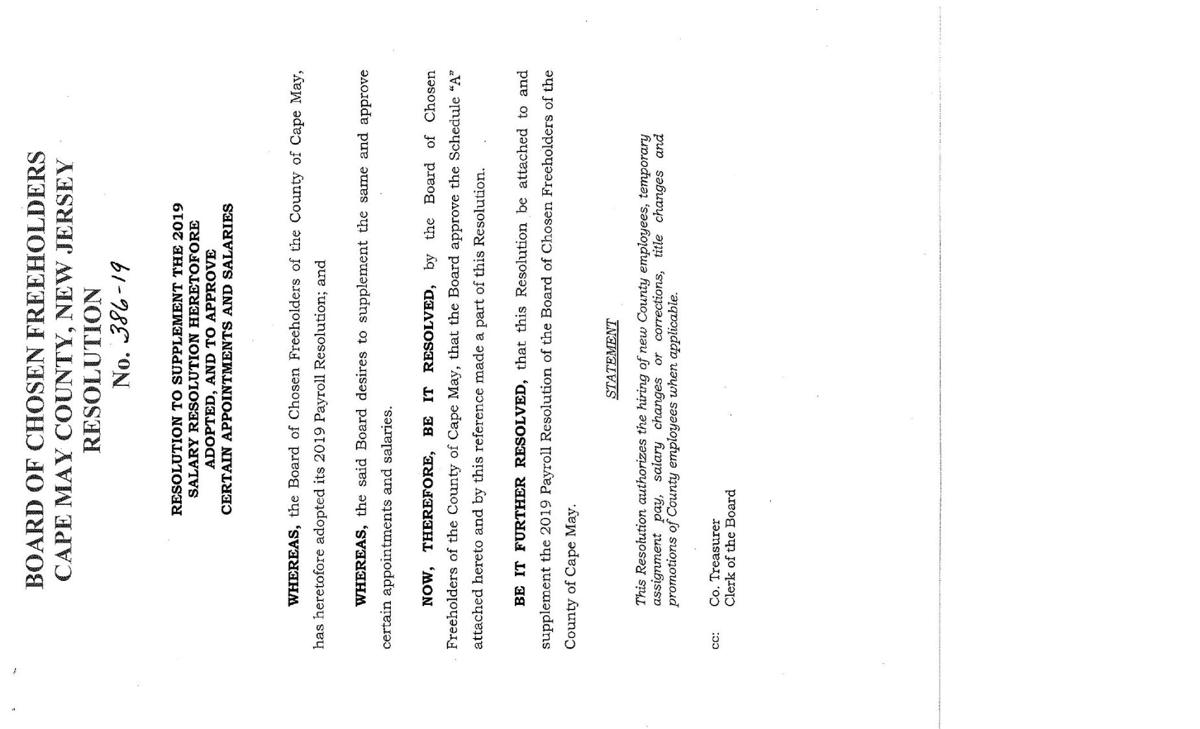 Freeholders Salary Resolution of May 14, 2019