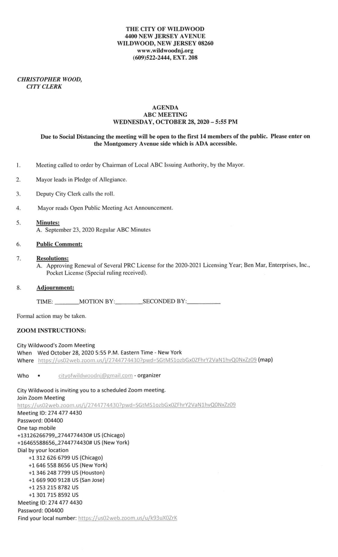 Wildwood City Commissioners Meeting Agenda Oct. 28, 2020