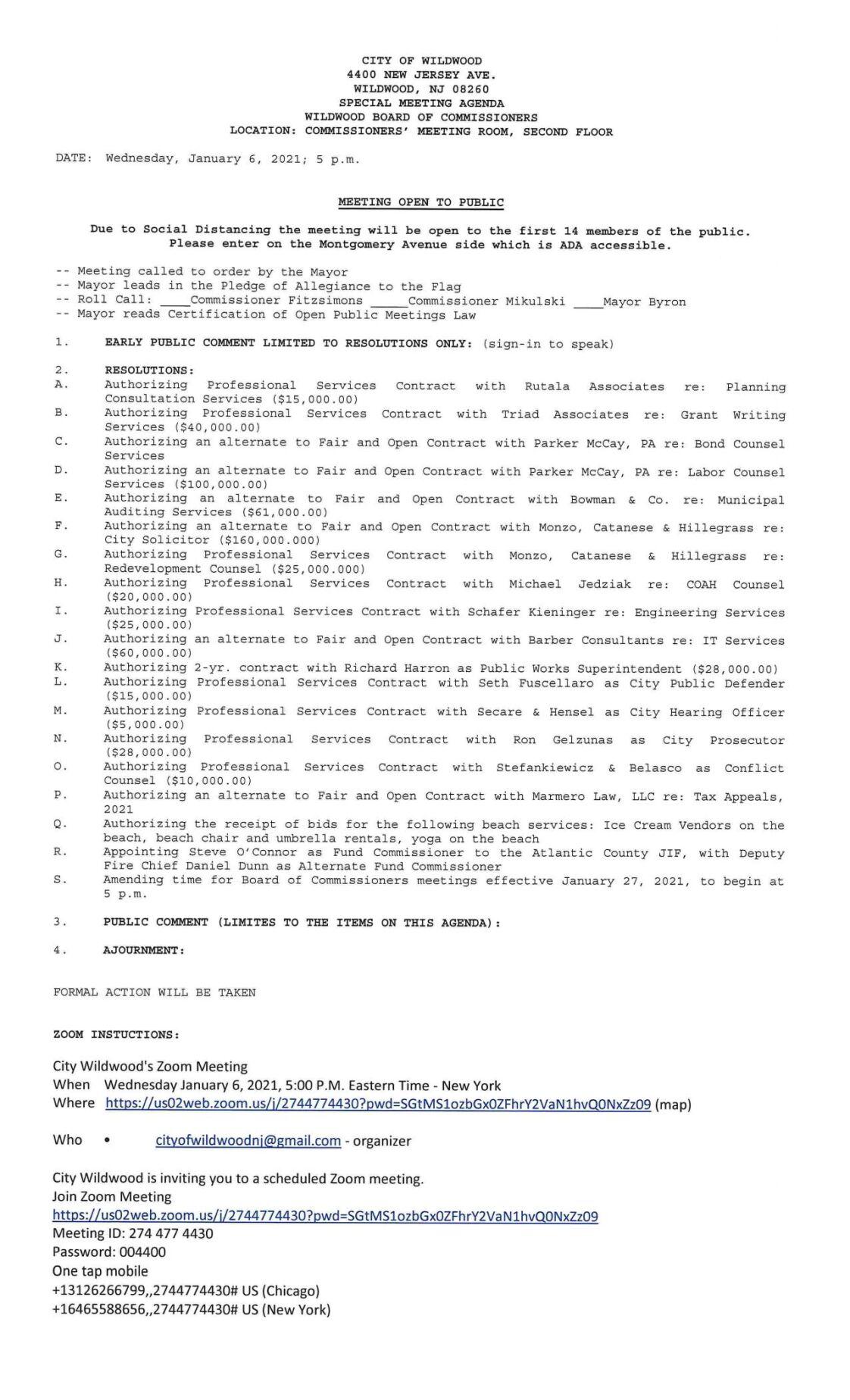 Wildwood City Commissioners Meeting Agenda Jan. 6, 2021