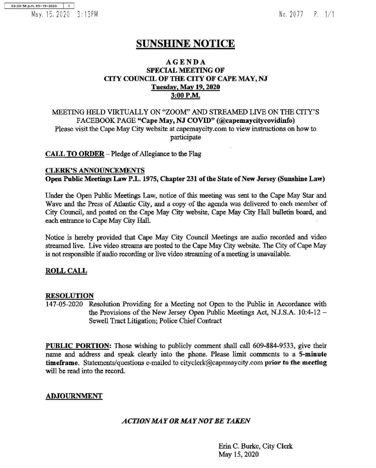 Cape May Special Meeting Agenda May 19, 2020