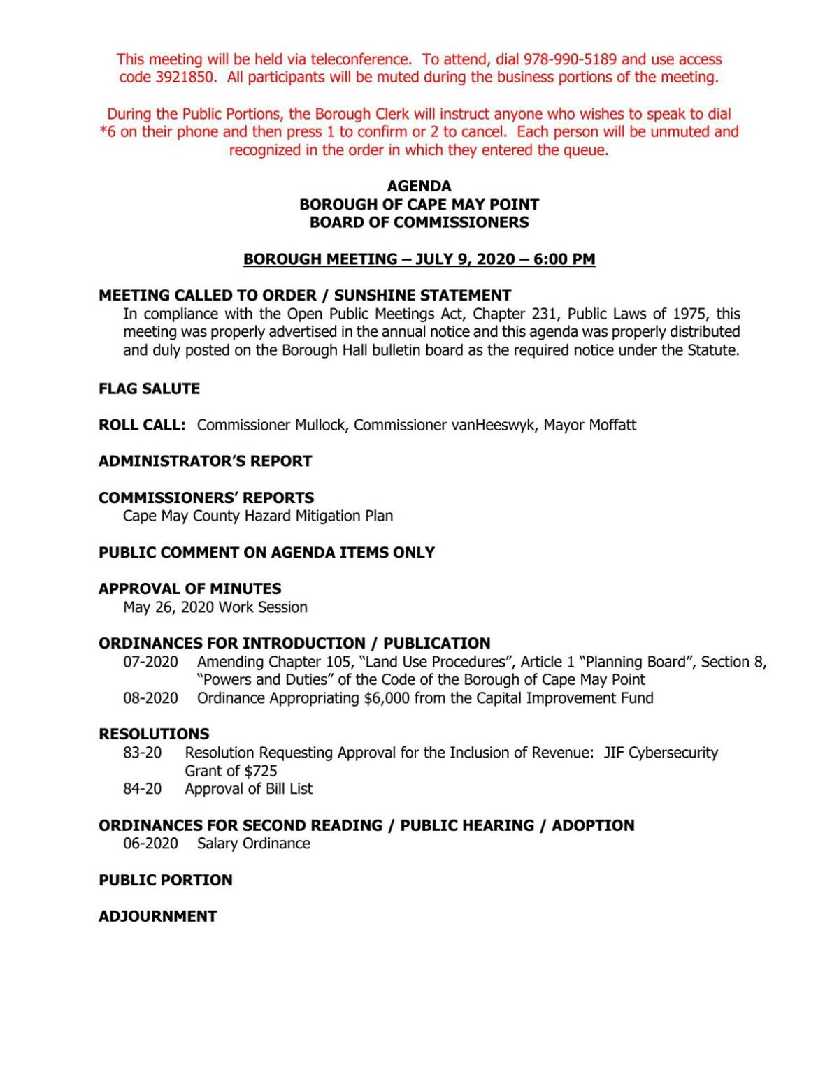 Cape May Point Commissioners Meeting Agenda July 9, 2020