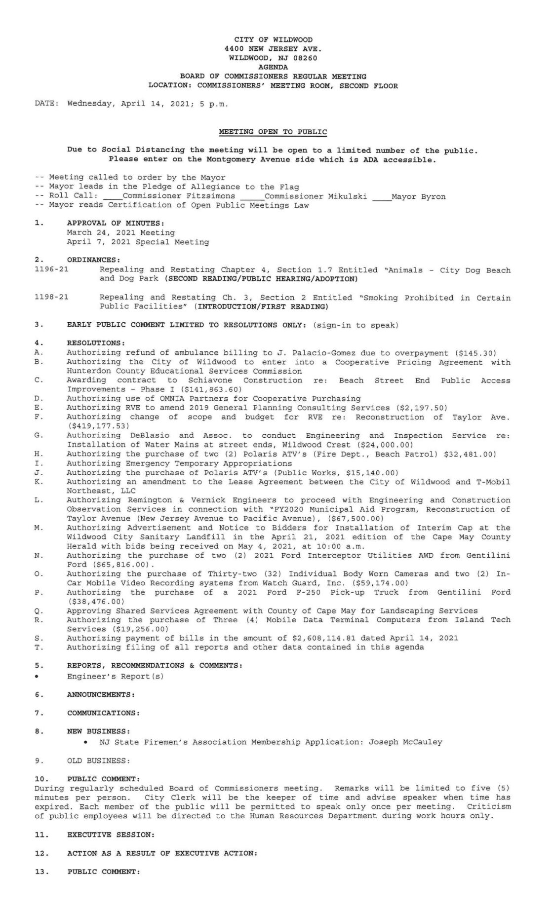 Wildwood City Commissioners Meeting Agenda April 14, 2021