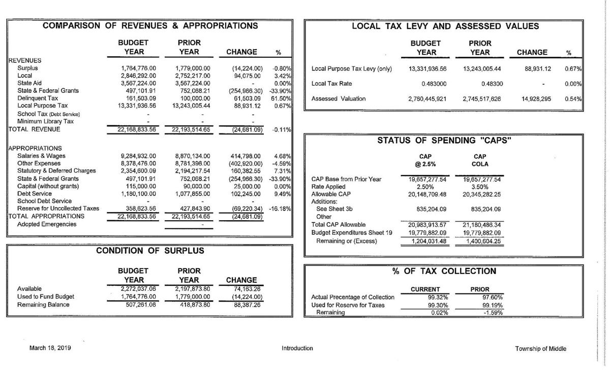 Middle Township Introduced Budget 2019