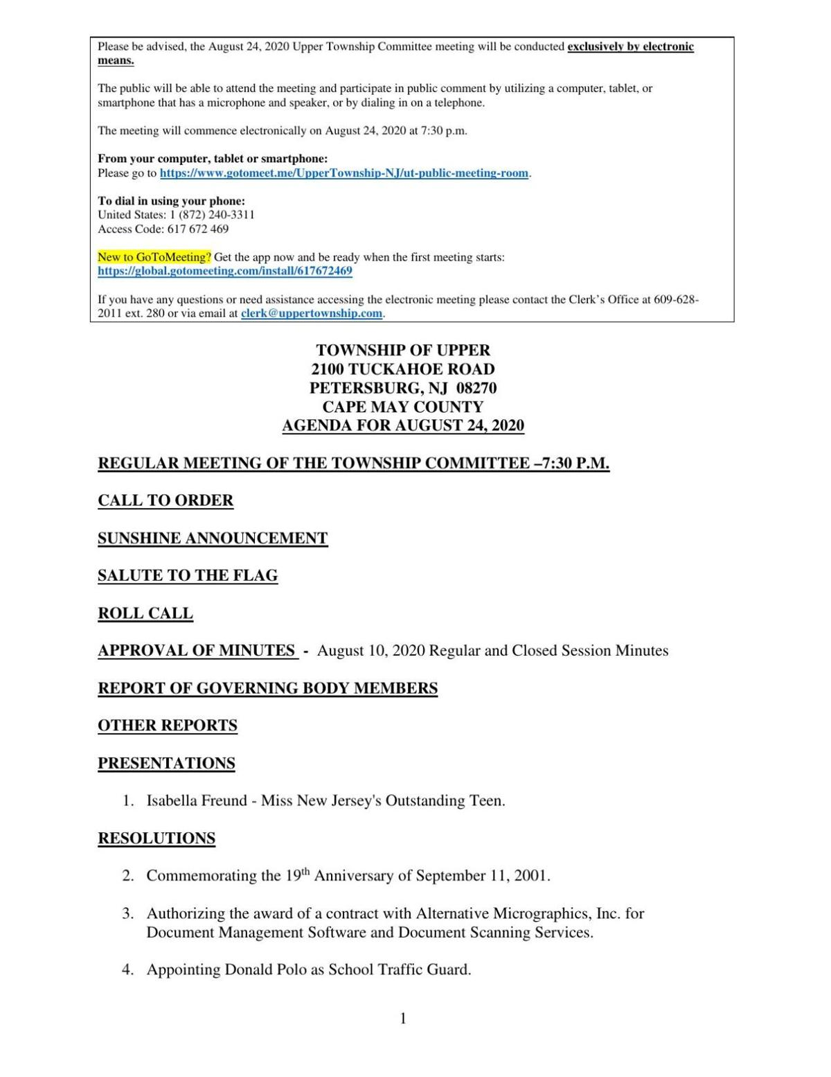 Upper Township Committee Meeting Agenda Aug. 24, 2020