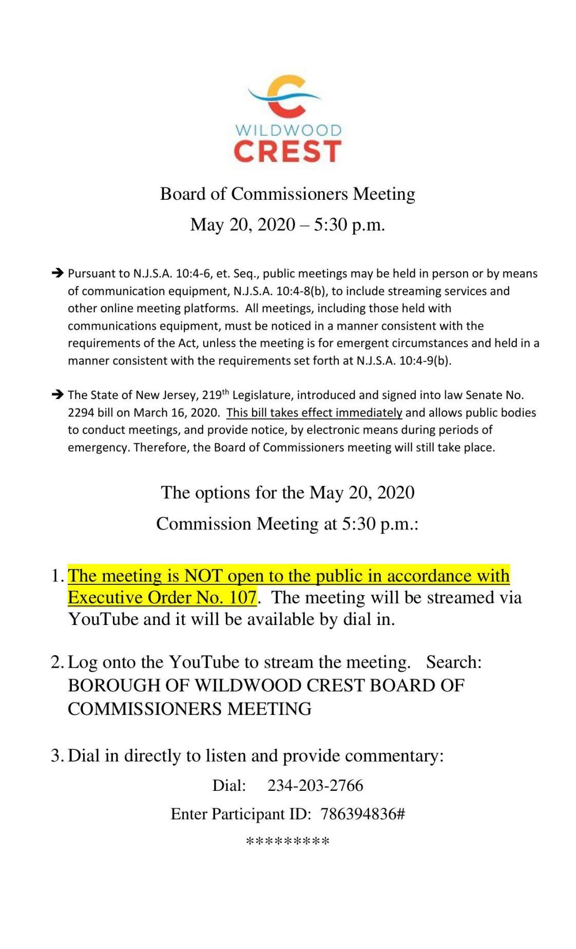 Wildwood Crest Commissioners Meeting Agenda 5-20-20