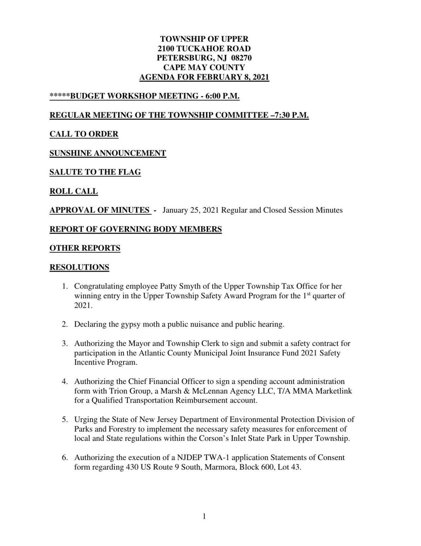 Upper Township Committee Meeting Agenda Feb. 8, 2021