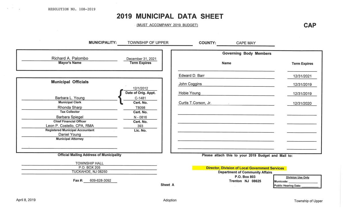 Upper Township Adopted Budget 2019