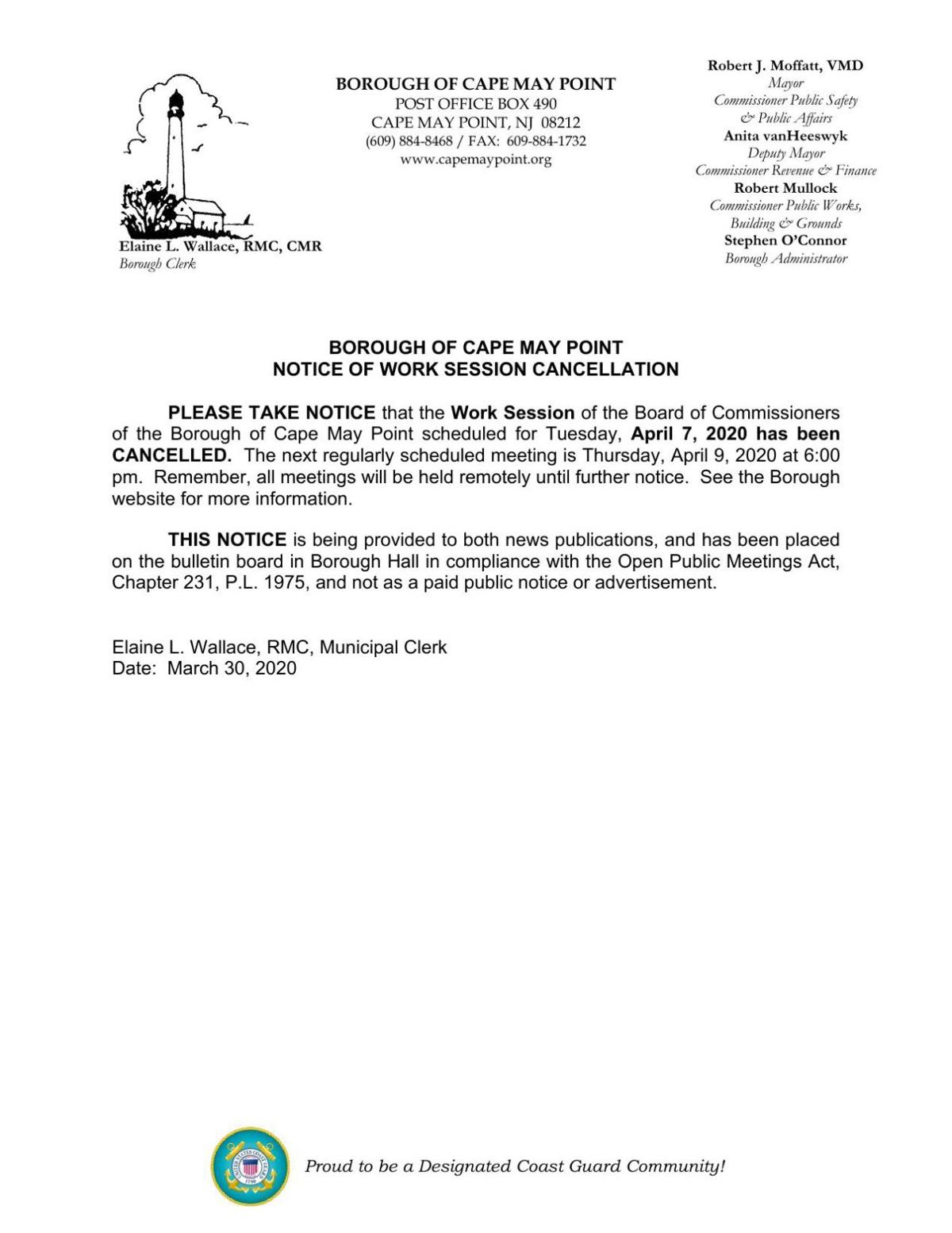 Cape May Point Meeting Cancellation April 7, 2020