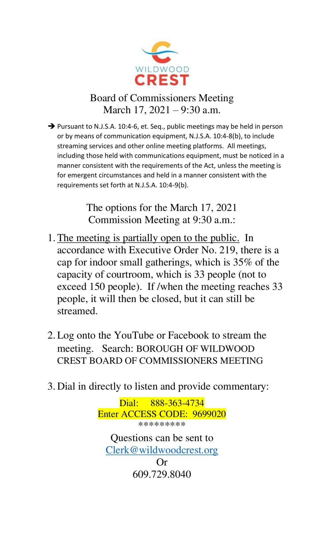 Wildwood Crest Commissioners Meeting Agenda March 17, 2021