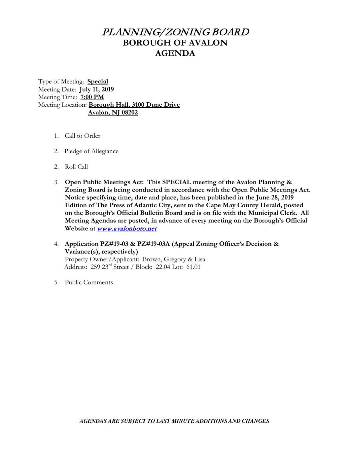 Avalon Planning-Zoning Board Special Meeting Agenda July 11, 2019