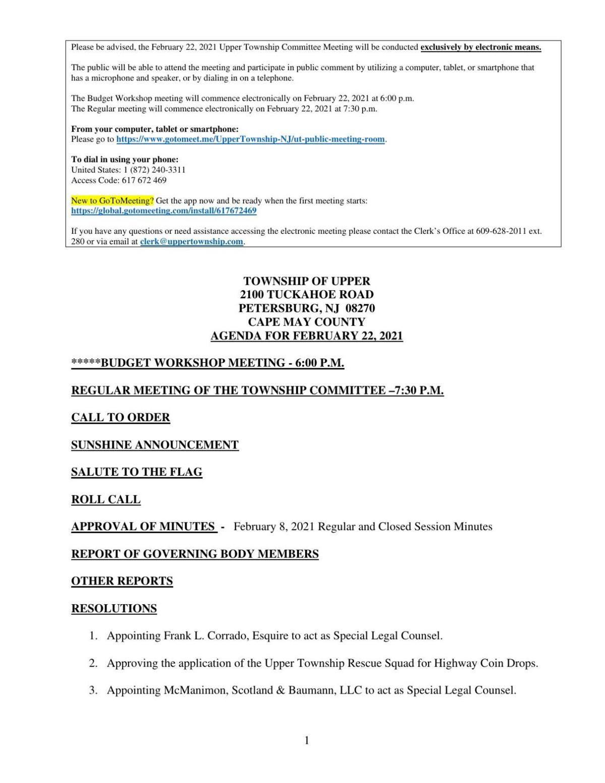 Upper Township Committee Meeting Agenda Feb. 22, 2021