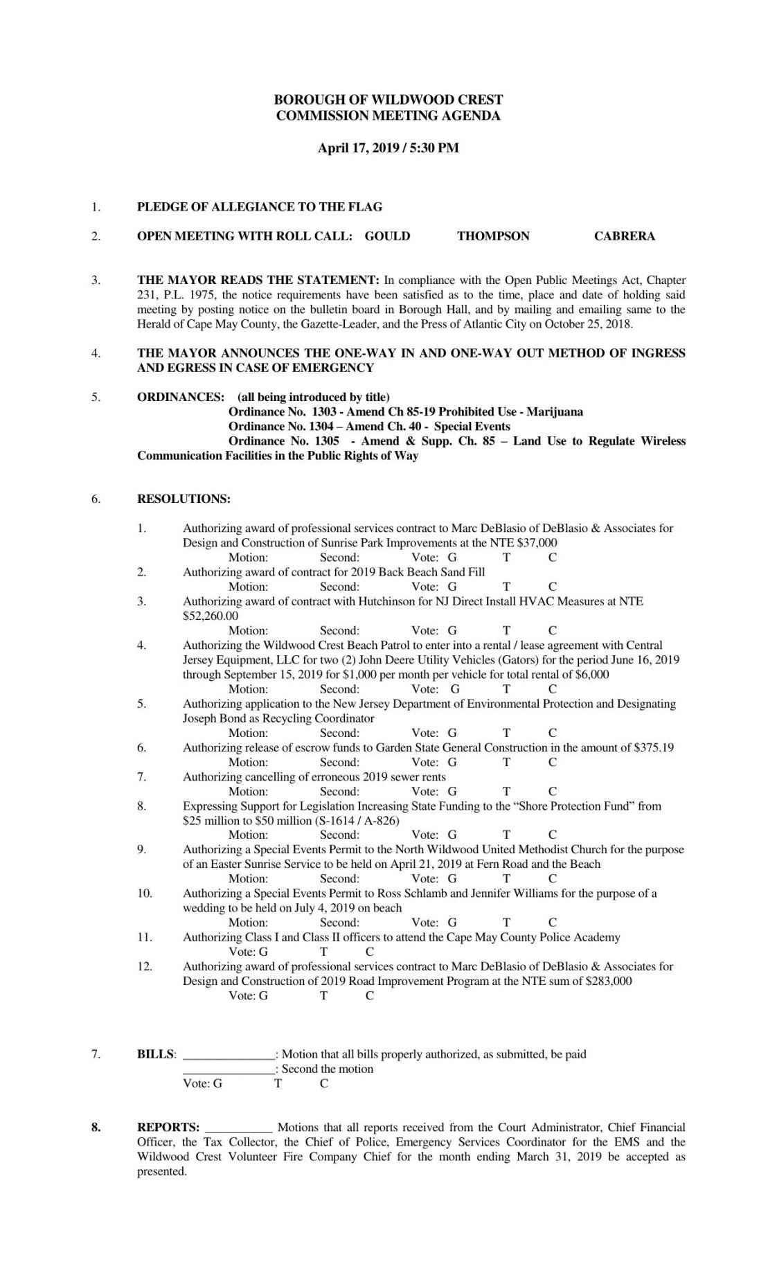 Wildwood Crest Commission Agenda April 17. 2019