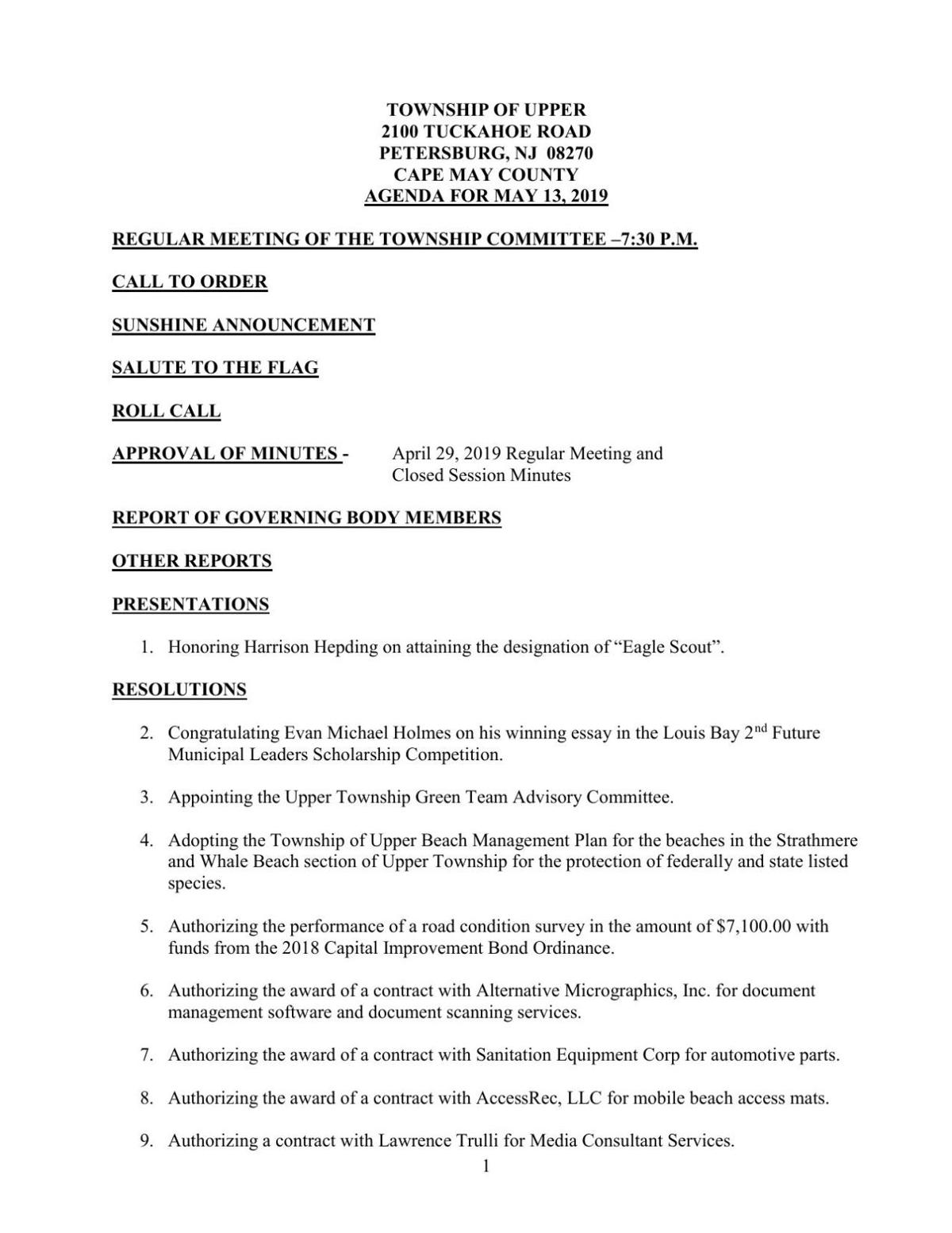 Upper Township Committee Agenda for May 13, 2019