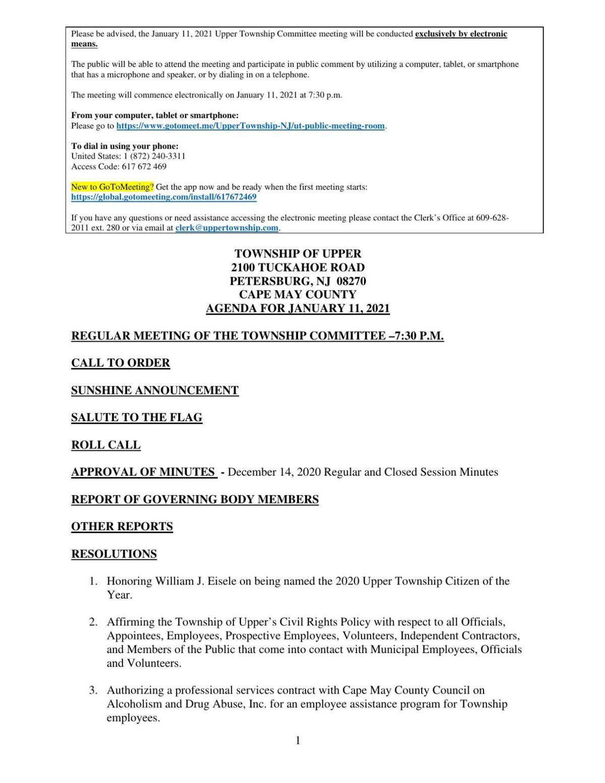 Upper Township Committee Meeting Jan. 11, 2021