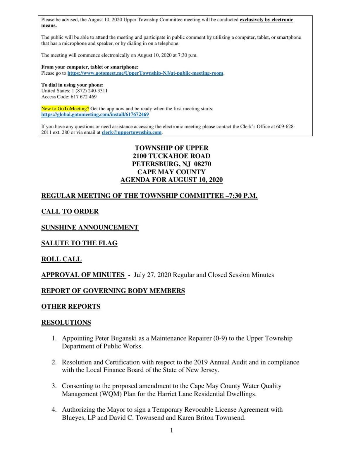 Upper Township Committee Meeting Agenda Aug. 10, 2020