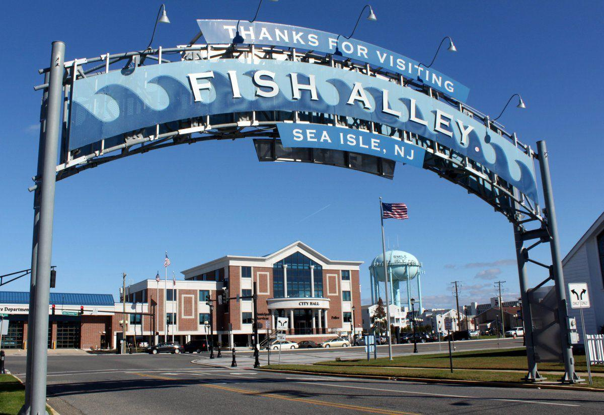 """The famous """"Fish Alley"""" sign is located near the intersection of Park Road and JFK Boulevard – just steps away from Sea Isle's new City Hall Building and Welcome Center."""