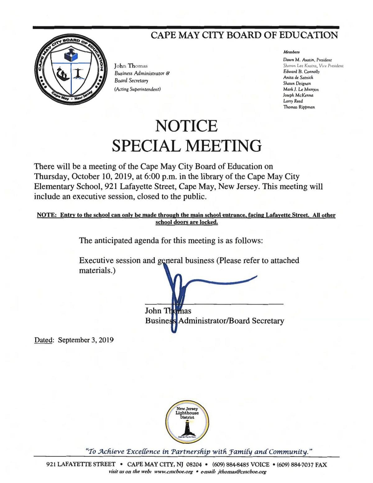 Cape May City Elementary School lBoard of Education Special Meeting Oct. 10, 2019