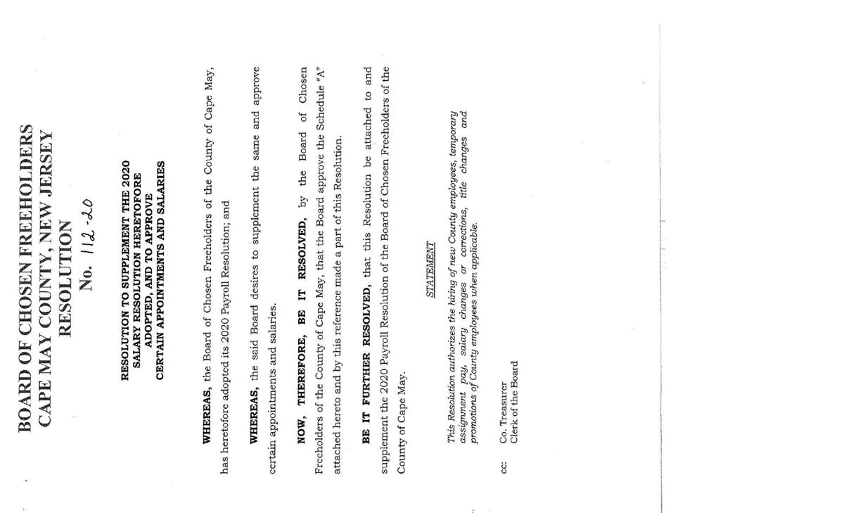 Freeholders Salary Resolution of Feb. 11, 2020