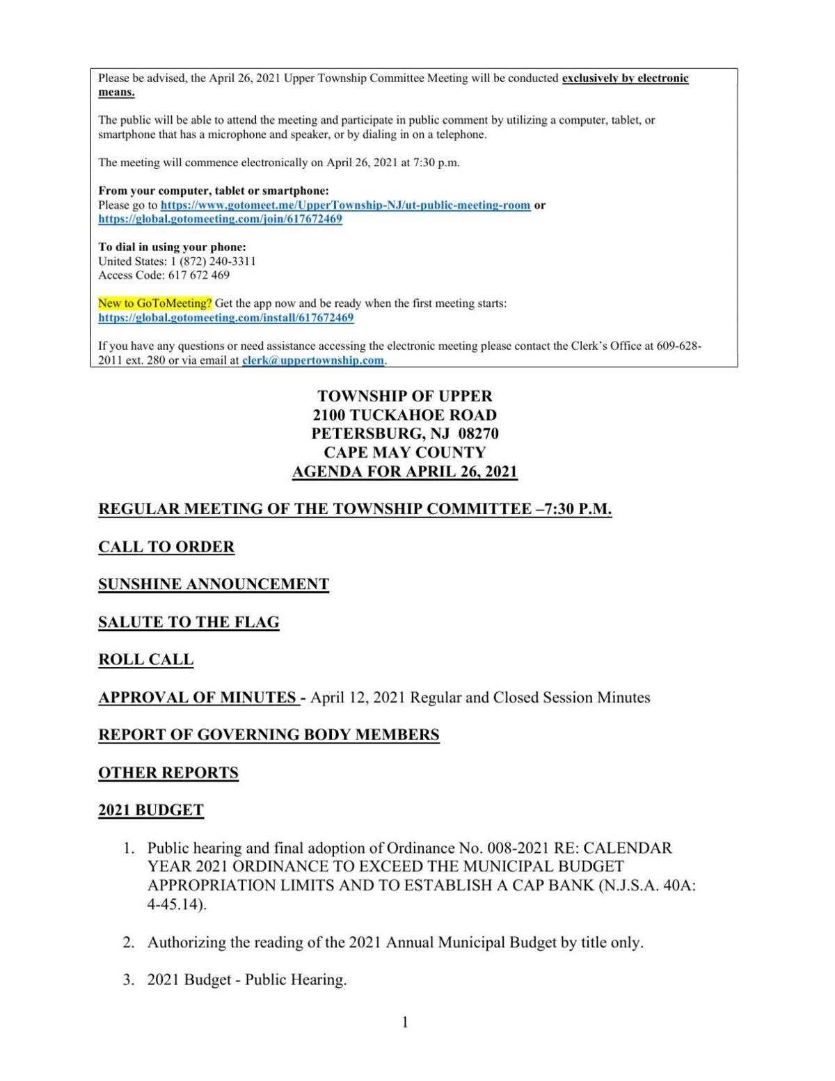 Upper Township Committee Meeting Agenda April 26, 2021