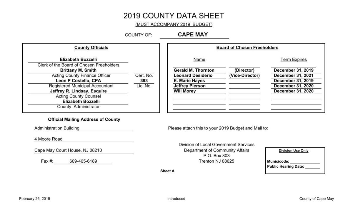 Cape May County Introduced Budget 2019