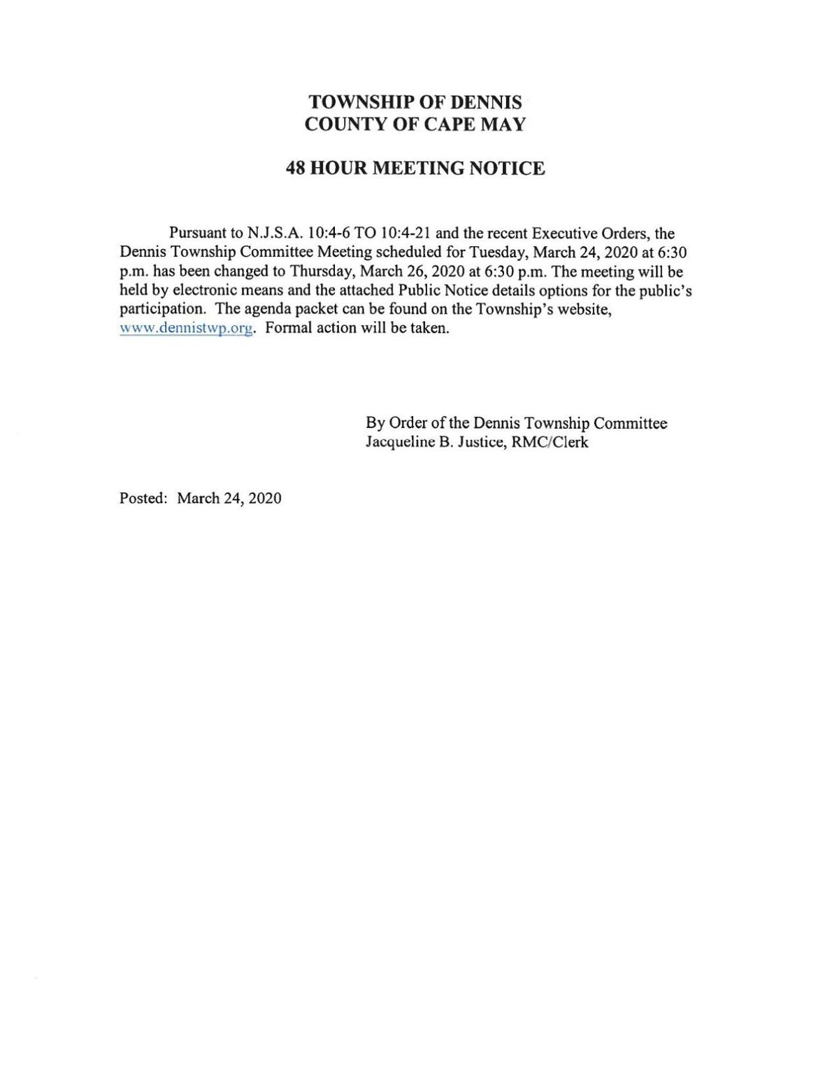 Dennis Township Reschedules March 24 Meeting