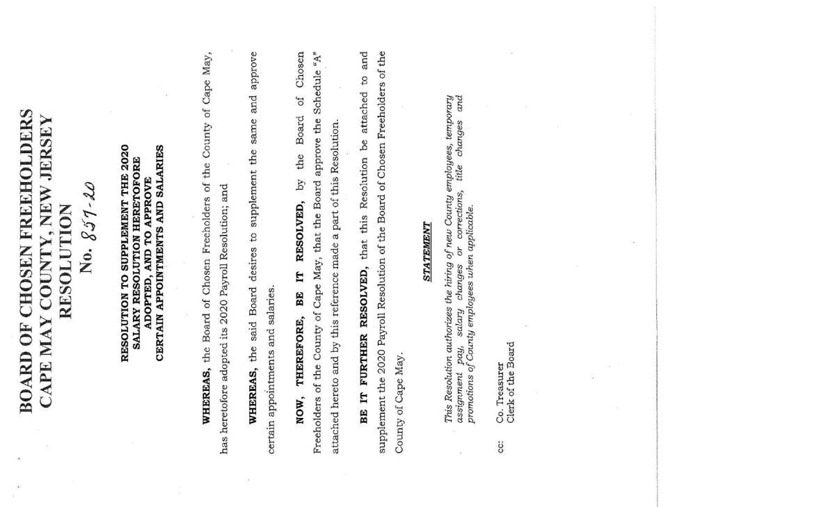 Freeholders Salary Resolution of Dec. 22, 2020
