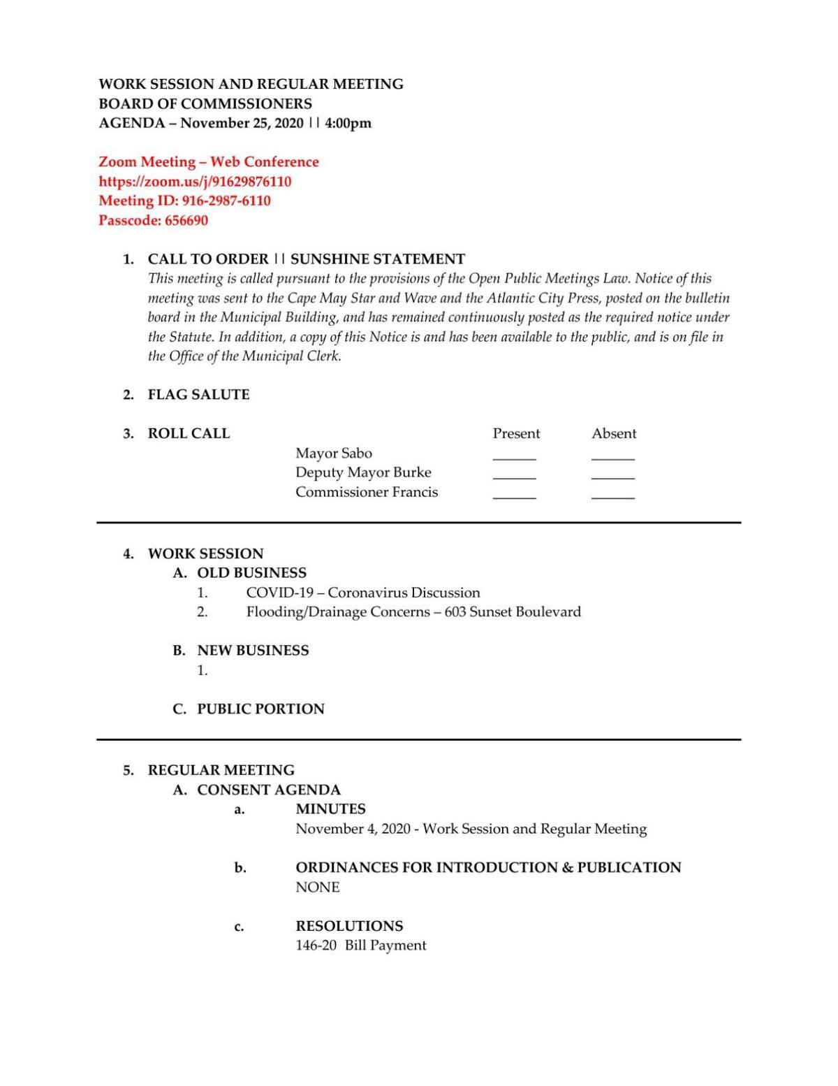 West Cape May Commissioners Meeting Agenda Nov. 25, 2020