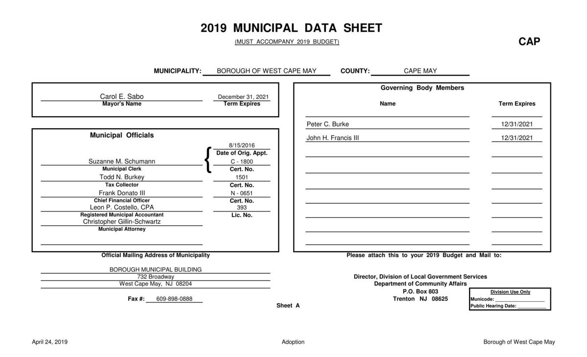 West Cape May Adopted Budget 2019