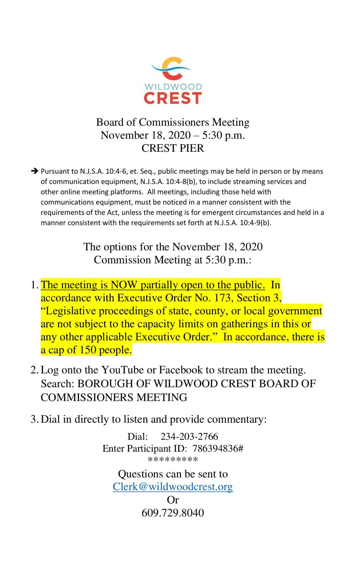 Wildwood Crest Borough Commissioners Meeting Agenda Nov. 18, 2020