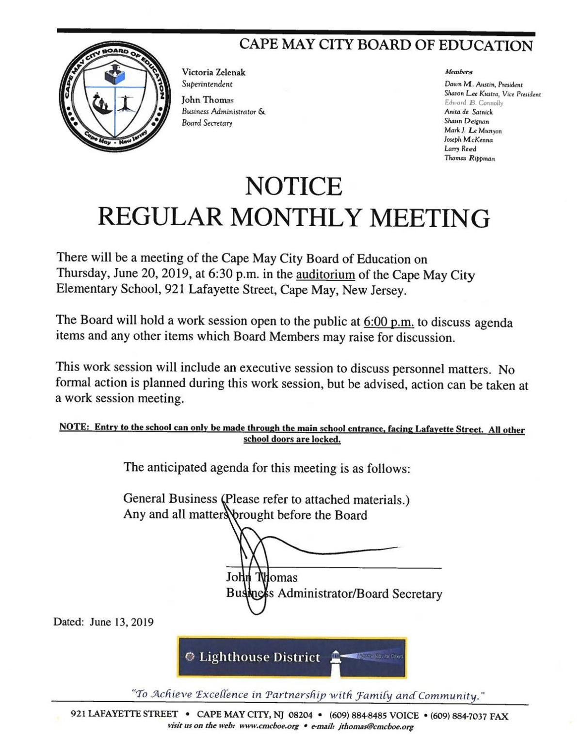Cape May City Board of Education June 20, 2019