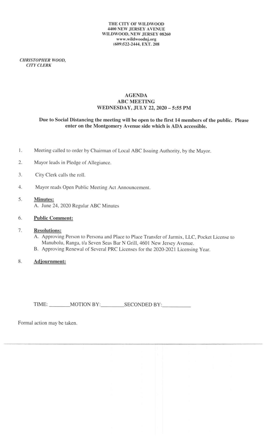 Wildwood City Commissioners Meeting Agenda July 22, 2020