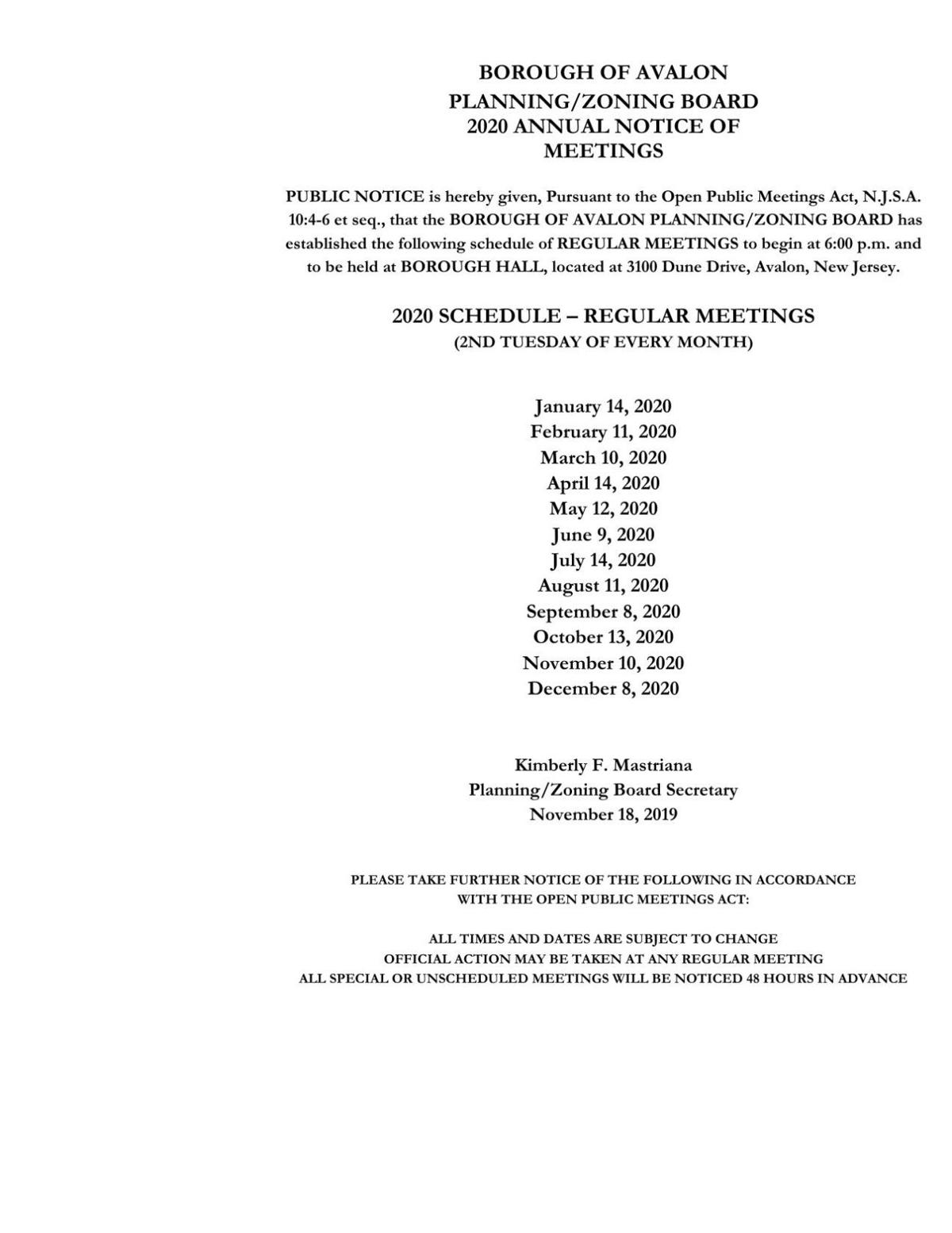 Avalon Planning/Zoning Board Meeting Datges in 2020