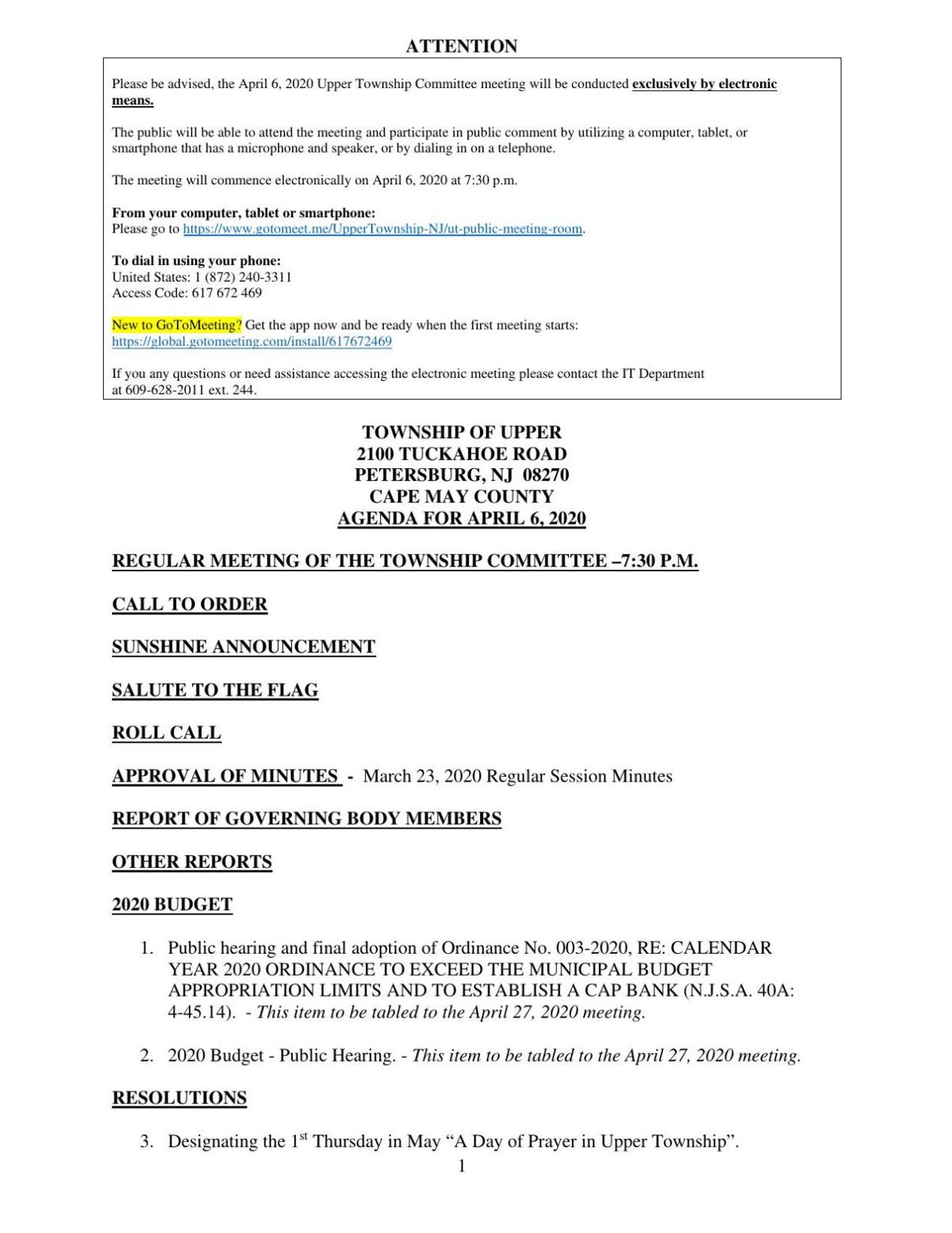 Upper Township Committee April 6, 2020 Meeting Agenda