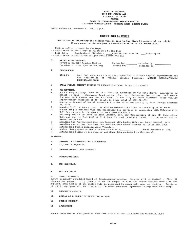 Wildwood Board of Commissioners Meeting Agenda Dec. 9, 2020