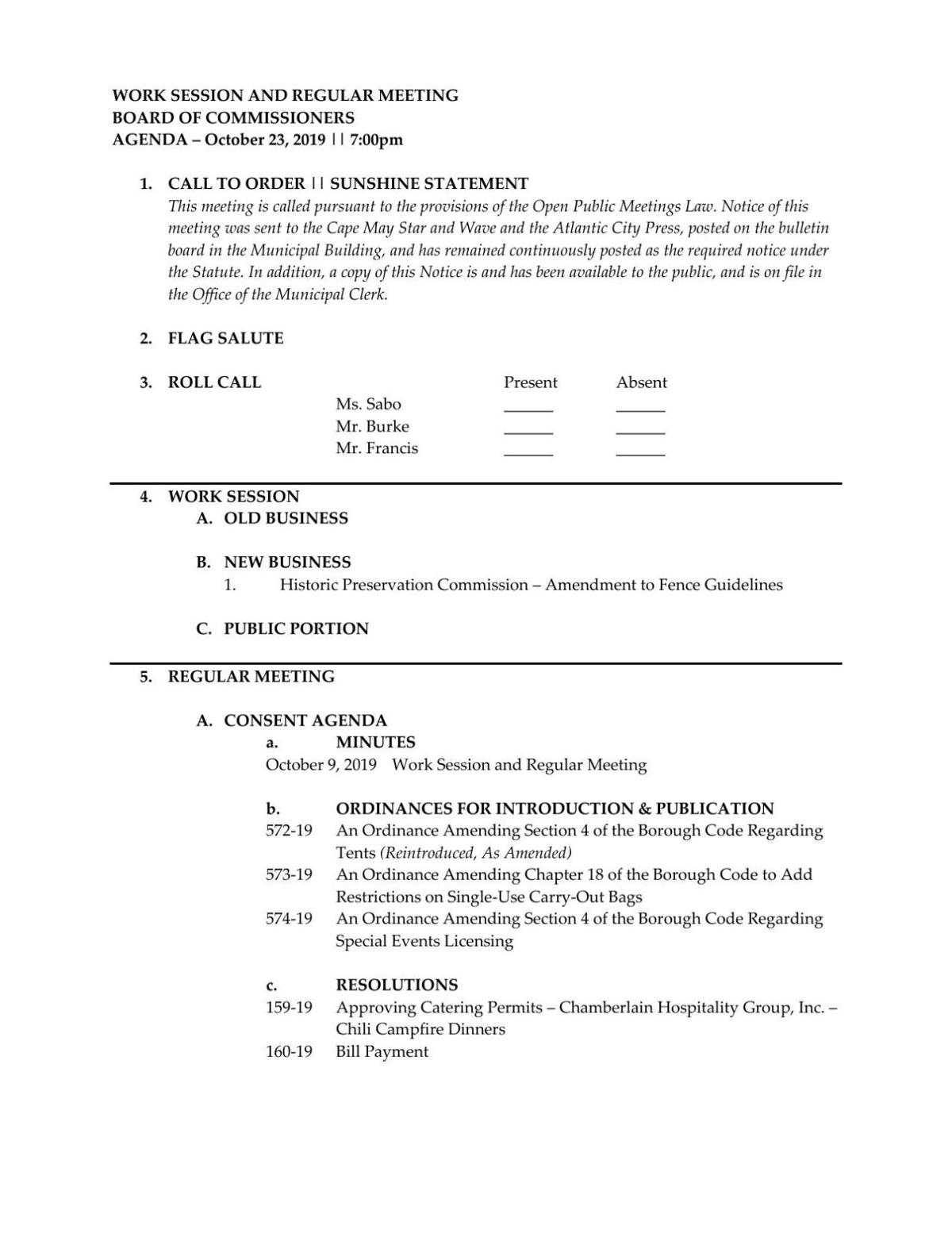 West Cape May Borough Commissioners Agenda Oct. 23, 2019