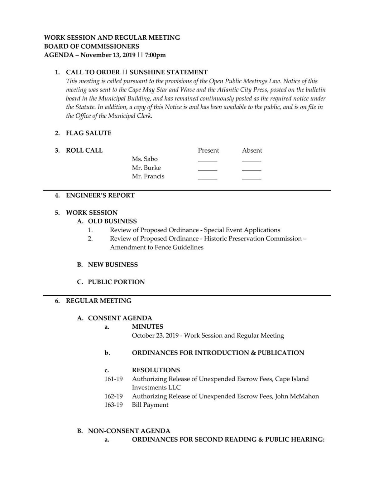 West Cape May Board of Commmissioners Agenda Nov. 13, 2019