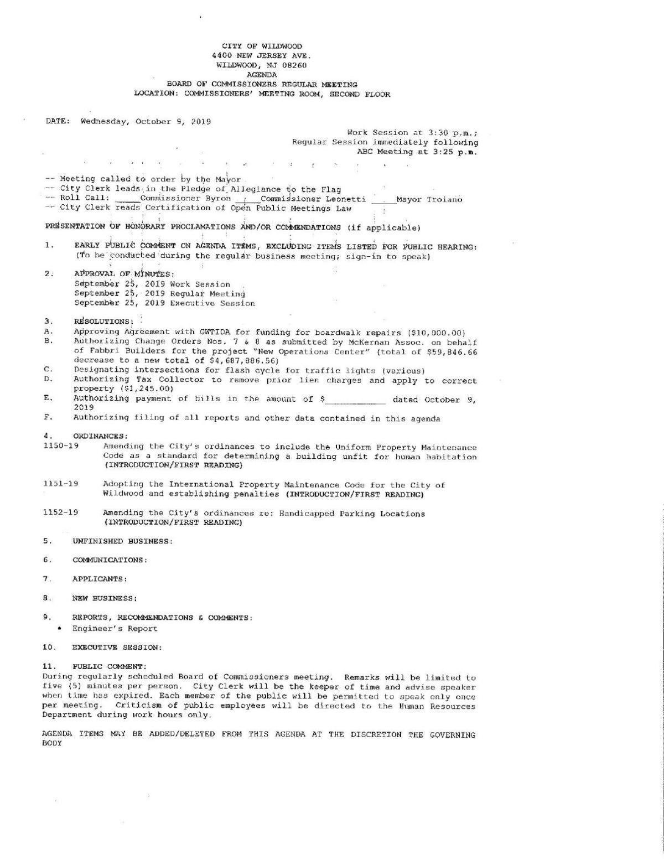Wildwood Board of Commissioners Agenda Oct. 9, 2019