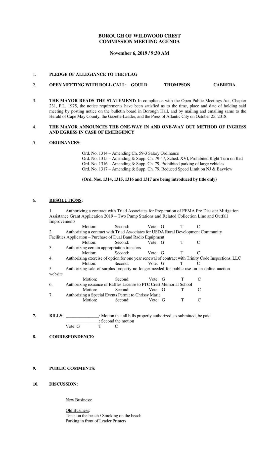 Wildwood Crest Borough Commissioners Agenda Nov. 6, 2019