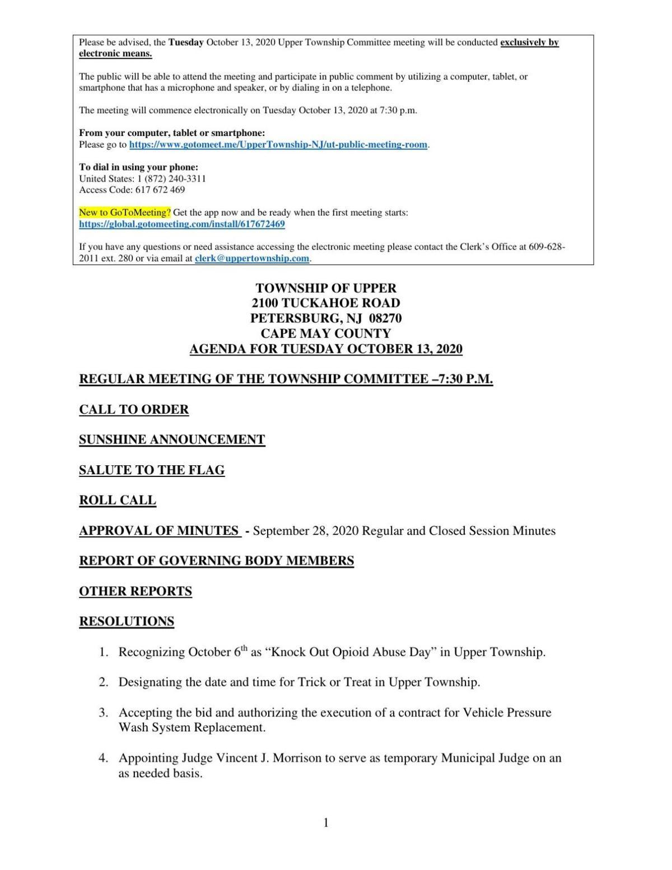 Upper Township Committee Meeting Agenda Oct. 13, 2020