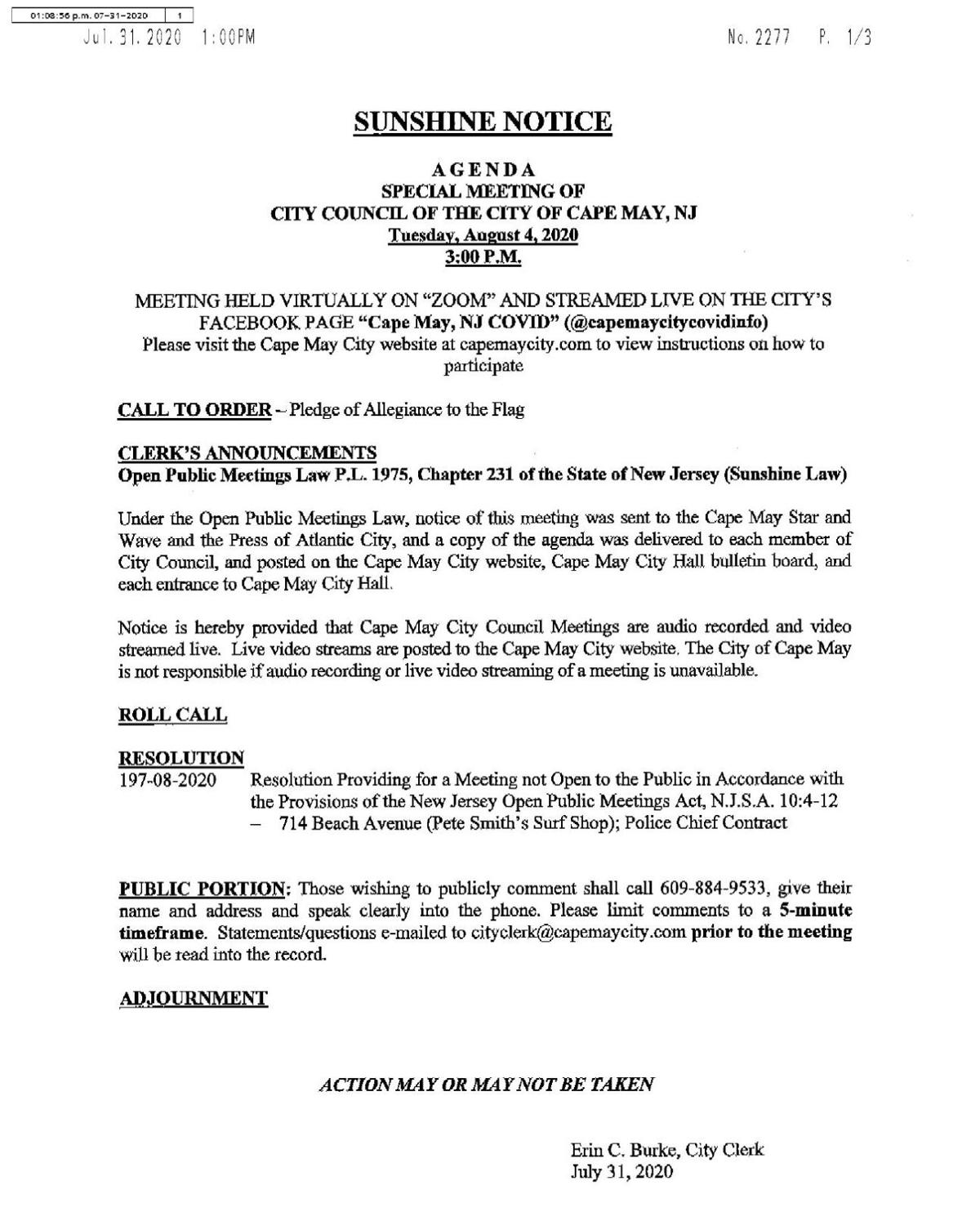 Cape May City Council Special Meeting Agenda Aug. 4, 2020