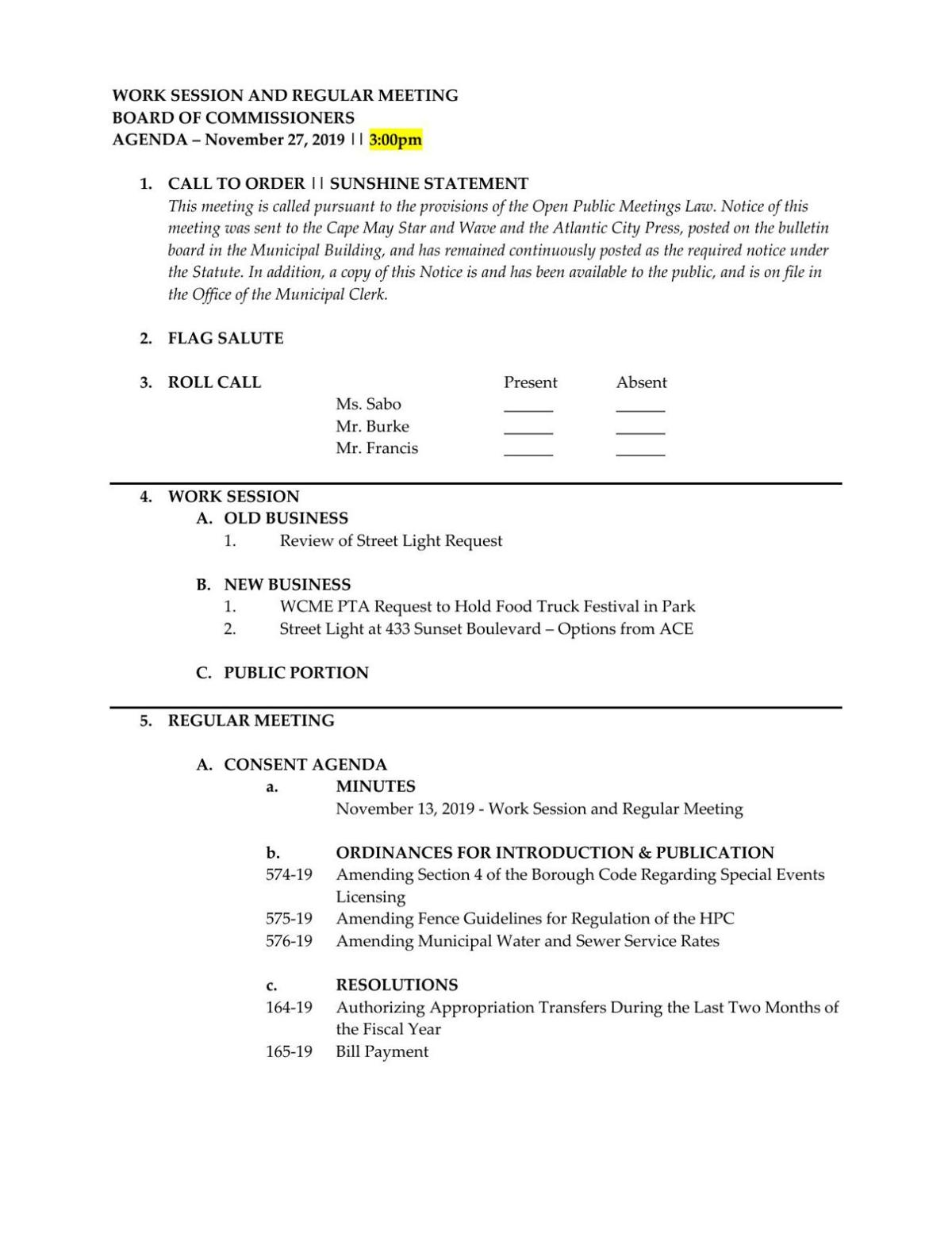 West Cape May Board of Commissioners Agenda Nov. 27, 2019